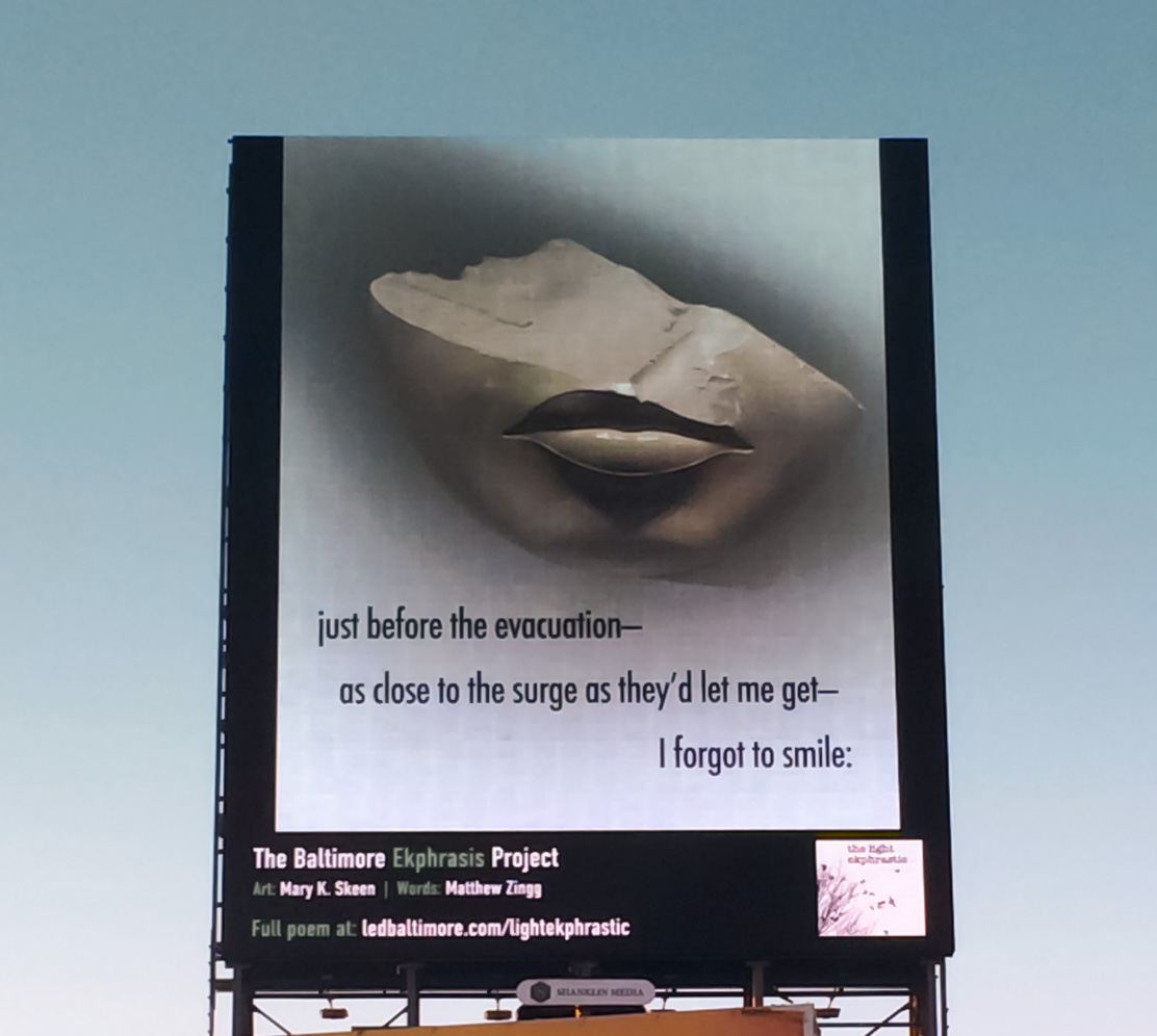Billboard Project: Listen by Mary Skeen with For Sure We Are Two Human Beings poem by Matthew Zingg.